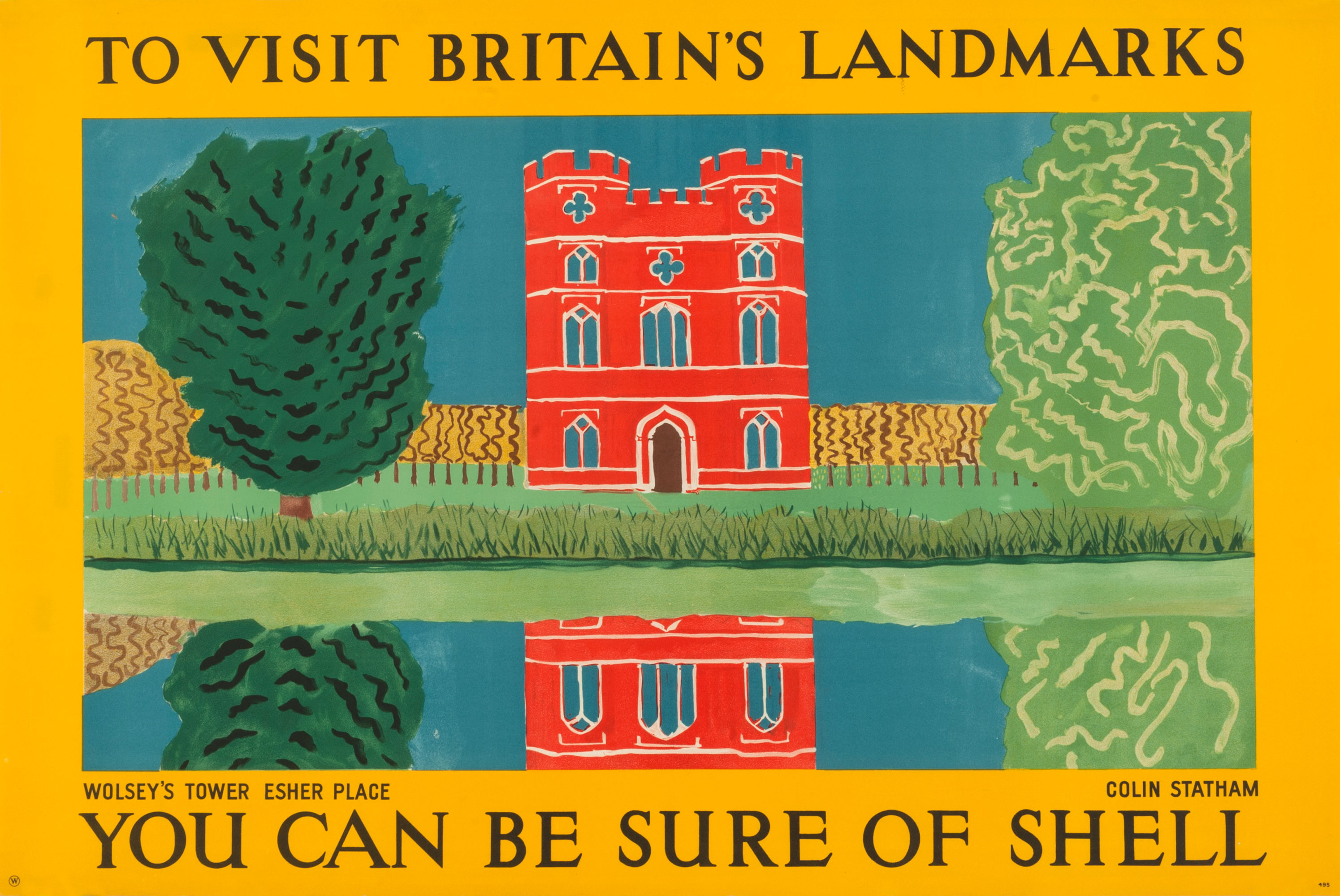 Shell poster number 495, Wolsey's Tower, Esher by Colin Statham. Stylised landscape painting of Wolsey's Tower at Esher Place, reflected in a lake.