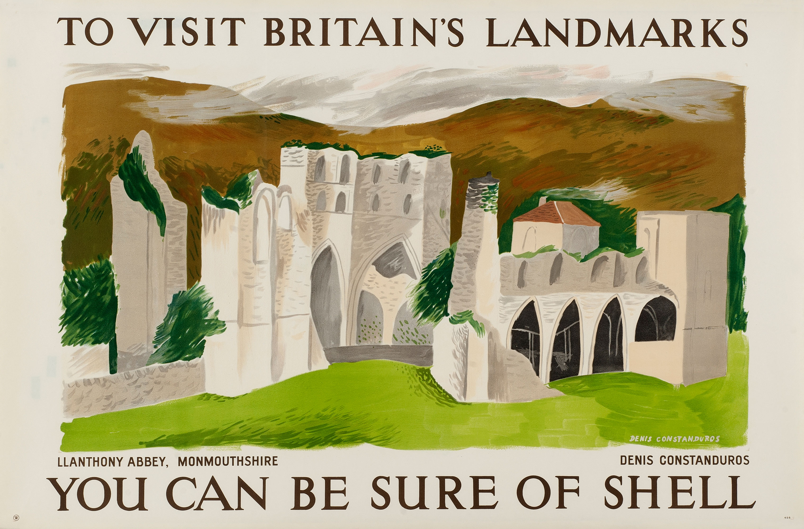 Shell poster number 498, Llanthony Abbey, Monmouth by Denis Constanduros. Landscape painting of Lllanthony Abbey.
