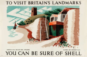 Shell poster number 499, Chanter's Folly, Appledore by Clifford and Rosemary Ellis. Landscape painting of Chanter's Folly and dry dock, showing a church and boat in the distance.