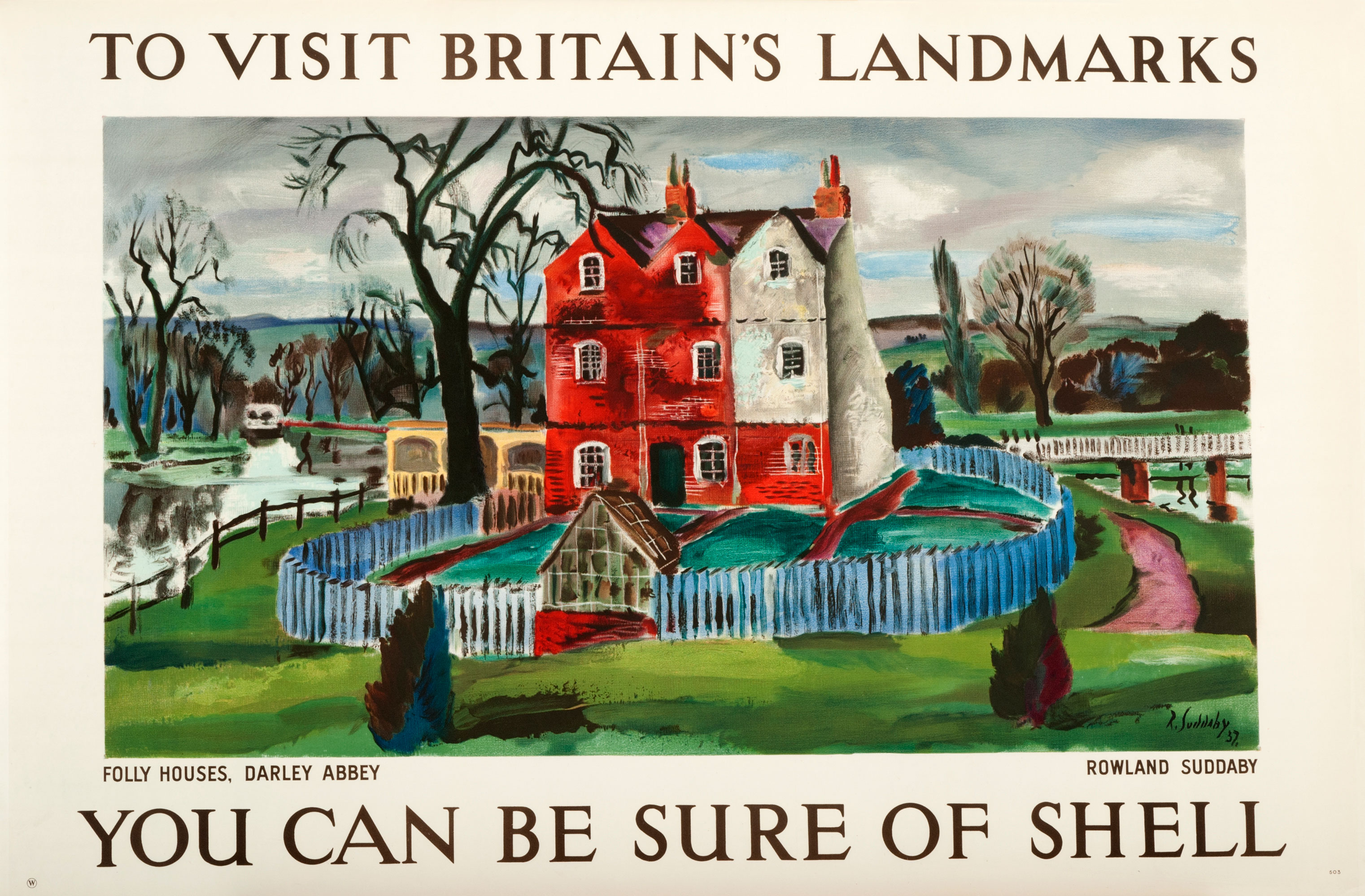 Shell poster number 503, Folly Houses, Darley Abbey by Rowland Suddaby. Landscape painting of Folly Houses at Darley Abbey.