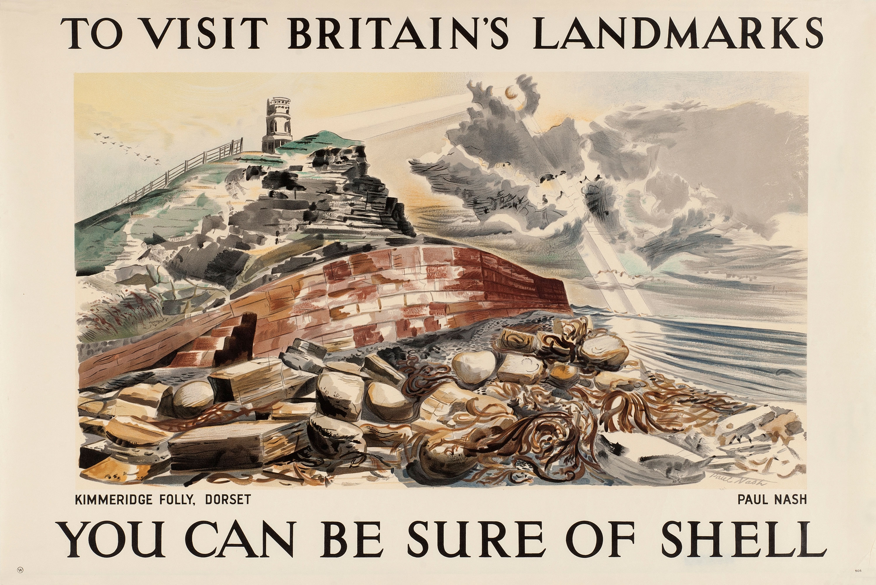 Shell poster 505, Kimmeridge Folly, Dorset by Paul Nash. Landscape painting of Kimmeridge Folly.
