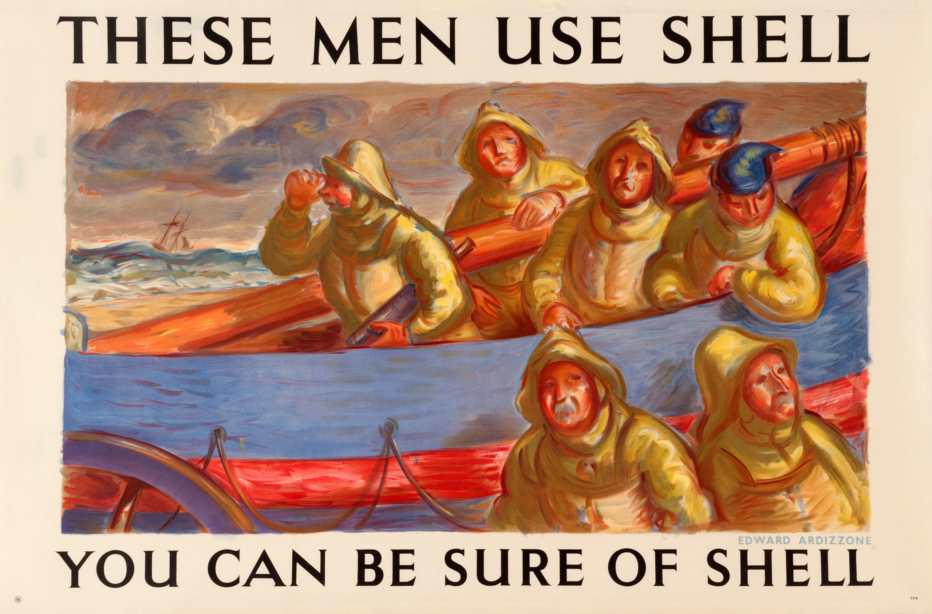 Shell poster number 509, Lifeboatmen use Shell by Edward Ardizzone. Painting of seven lifeboatmen at sea.