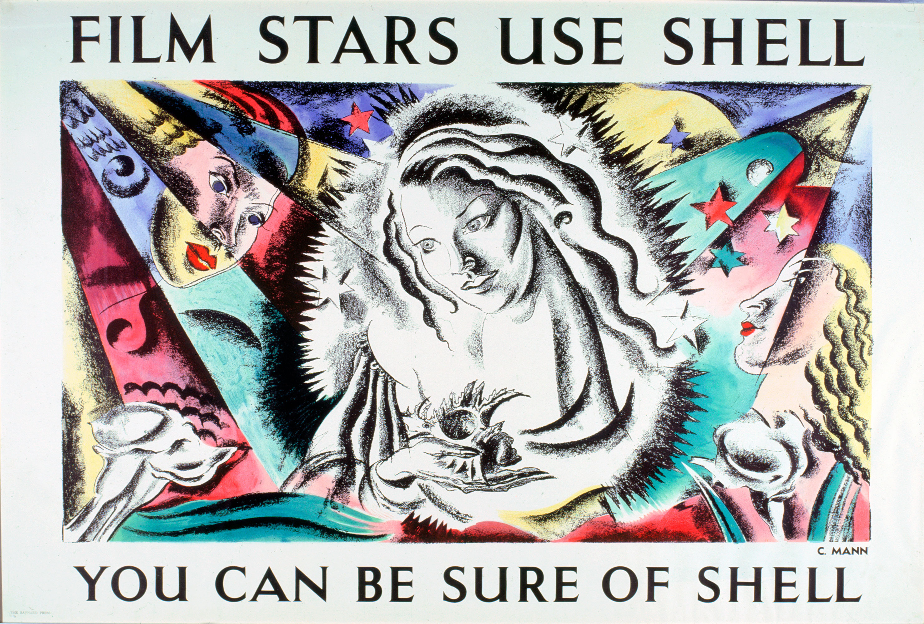 Shell poster number 525 Film stars use Shell (1938) by Cathleen Mann. A fairly abstract painting of a woman in spotlight, holding a shell, whilst two others look on.