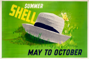 Shell poster number 537, May to October - Summer Shell (1939) by Edward McKnight Kauffer. Painting of a summer boater style hat lying in grass with yellow butterfly.