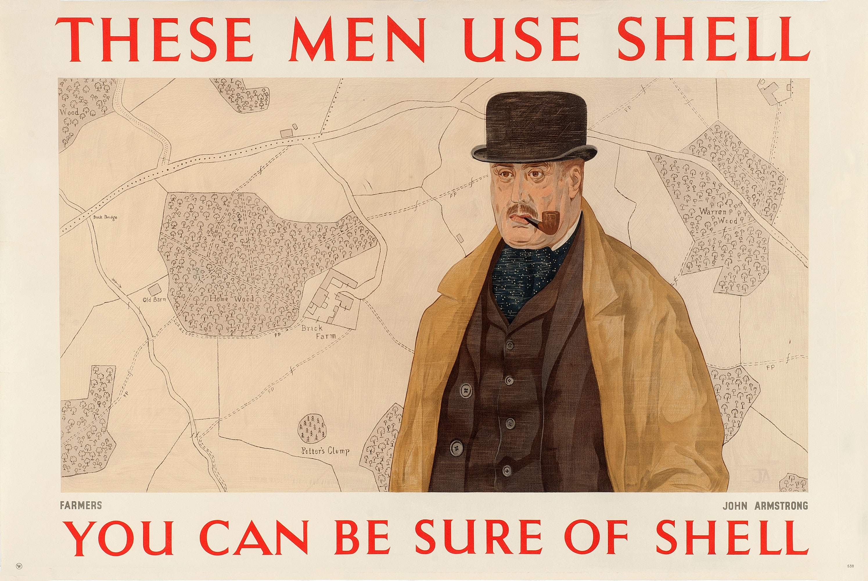 Shell poster number 538, Farmers use Shell (1939) by John Armstrong. Painting of a farmer in a bowler hat, coat and cravat, smoking a pipe.