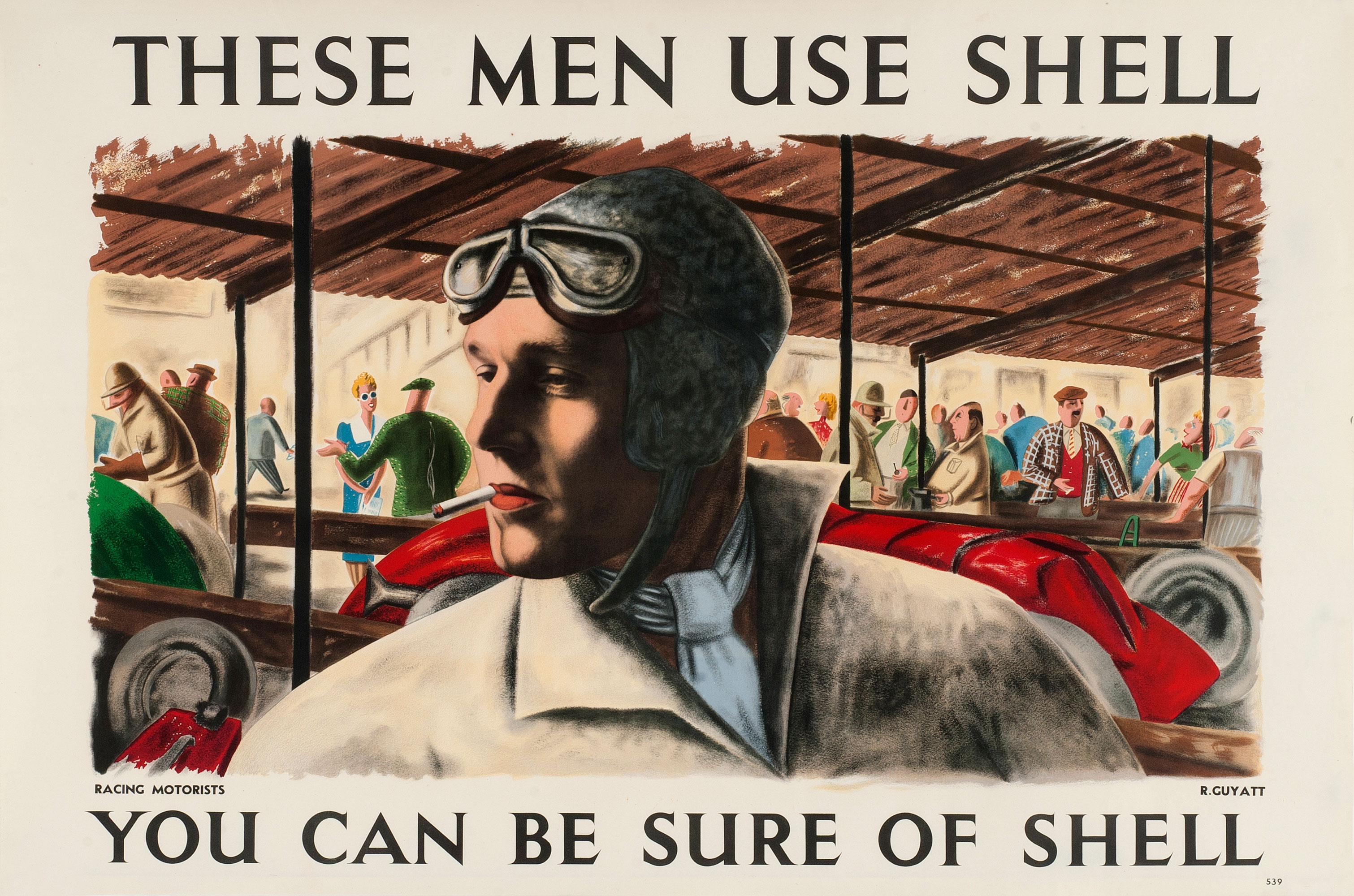 Shell poster number 539, Racing Motorists (1939) by Richard Guyatt. Painting of a racing driver (head and shoulders) smoking a cigarette, with crowd in background.