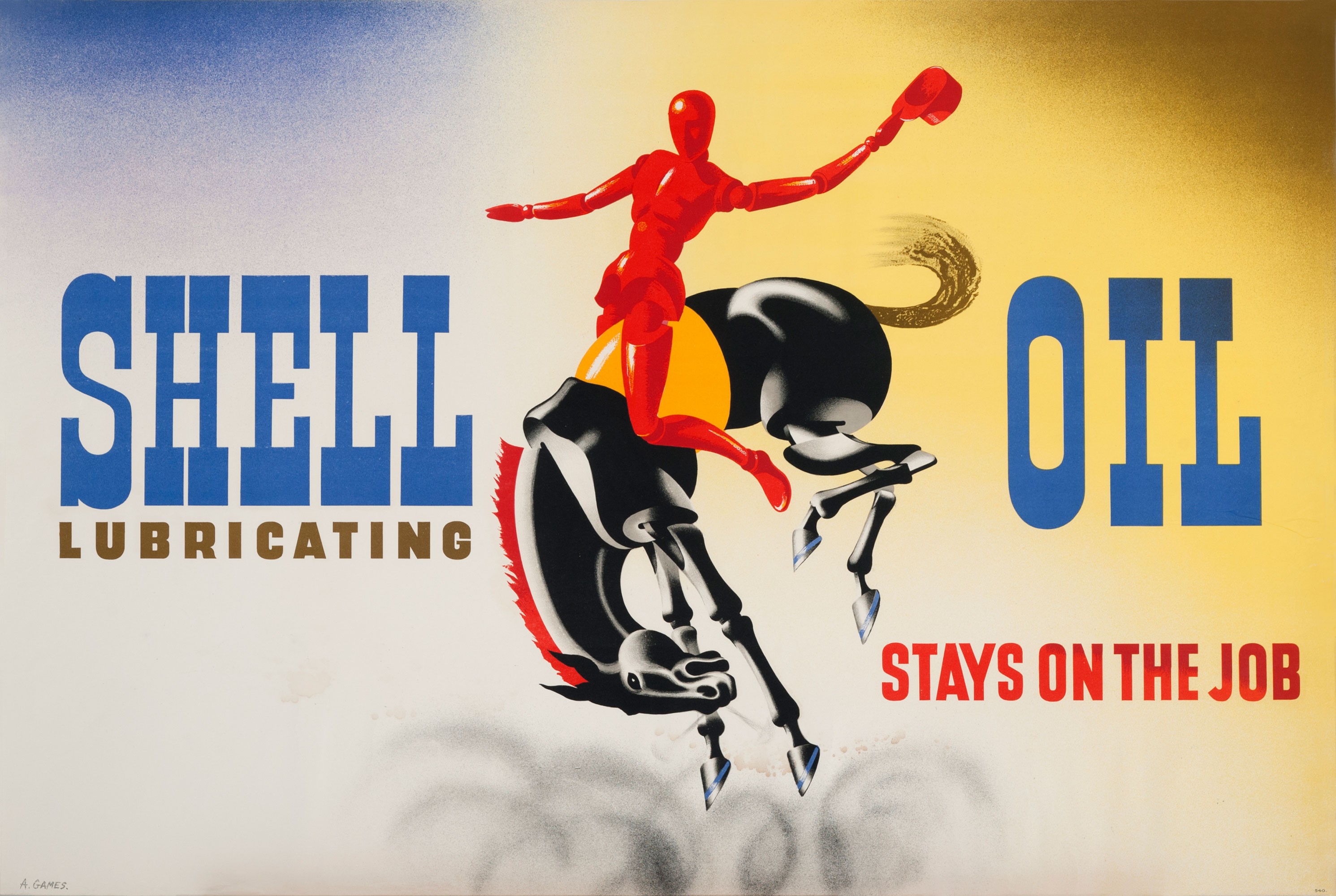 Shell poster number 540, Shell oil stays on the job (1939) by Abram Games. Painting shows red figure riding a bucking horse.