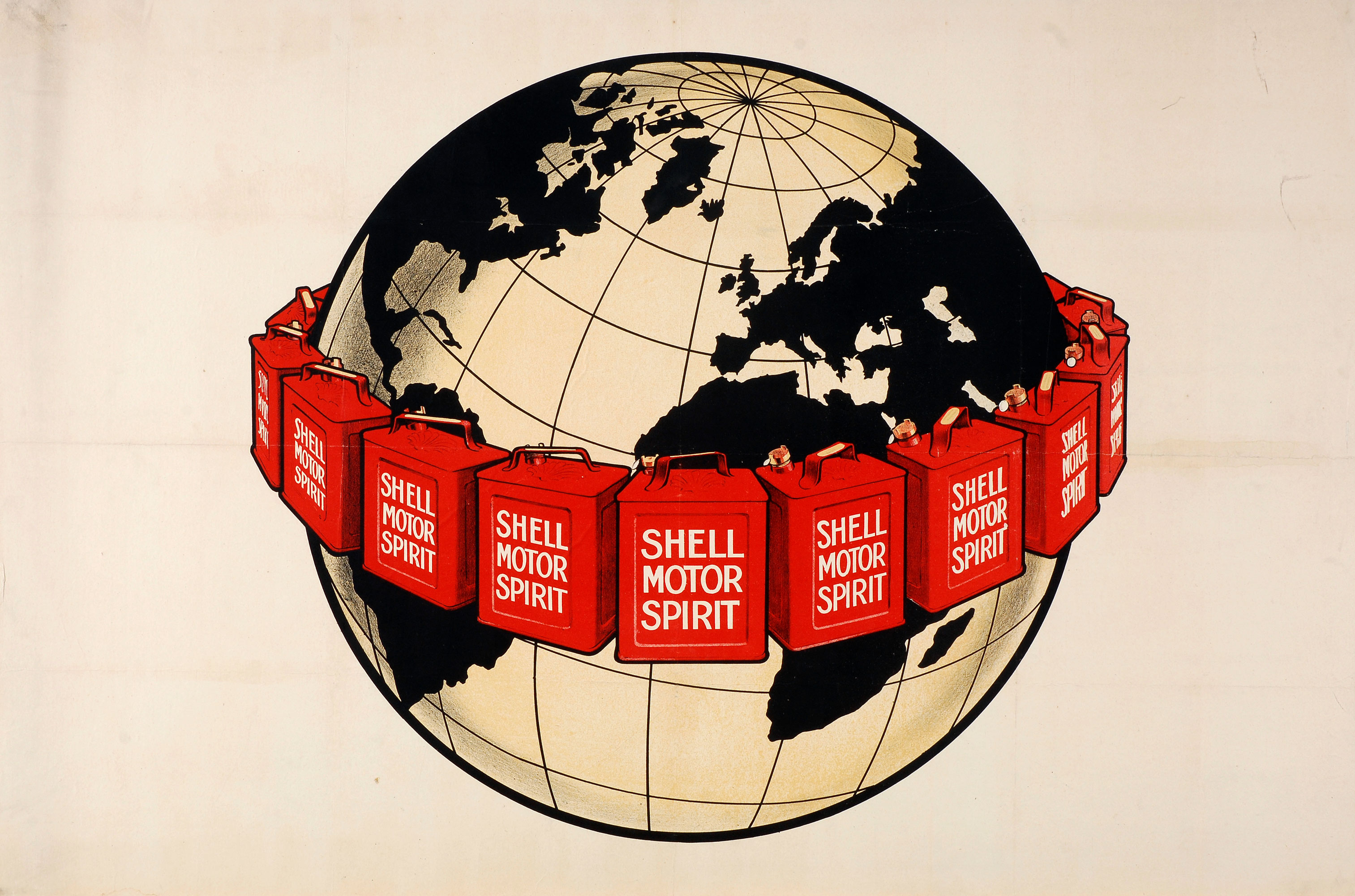 Shell poster number 57, Shell Girdles the Earth (1924), Shell Studio. Graphic of the earth with Shell Motor Spirit oil cans circling it.