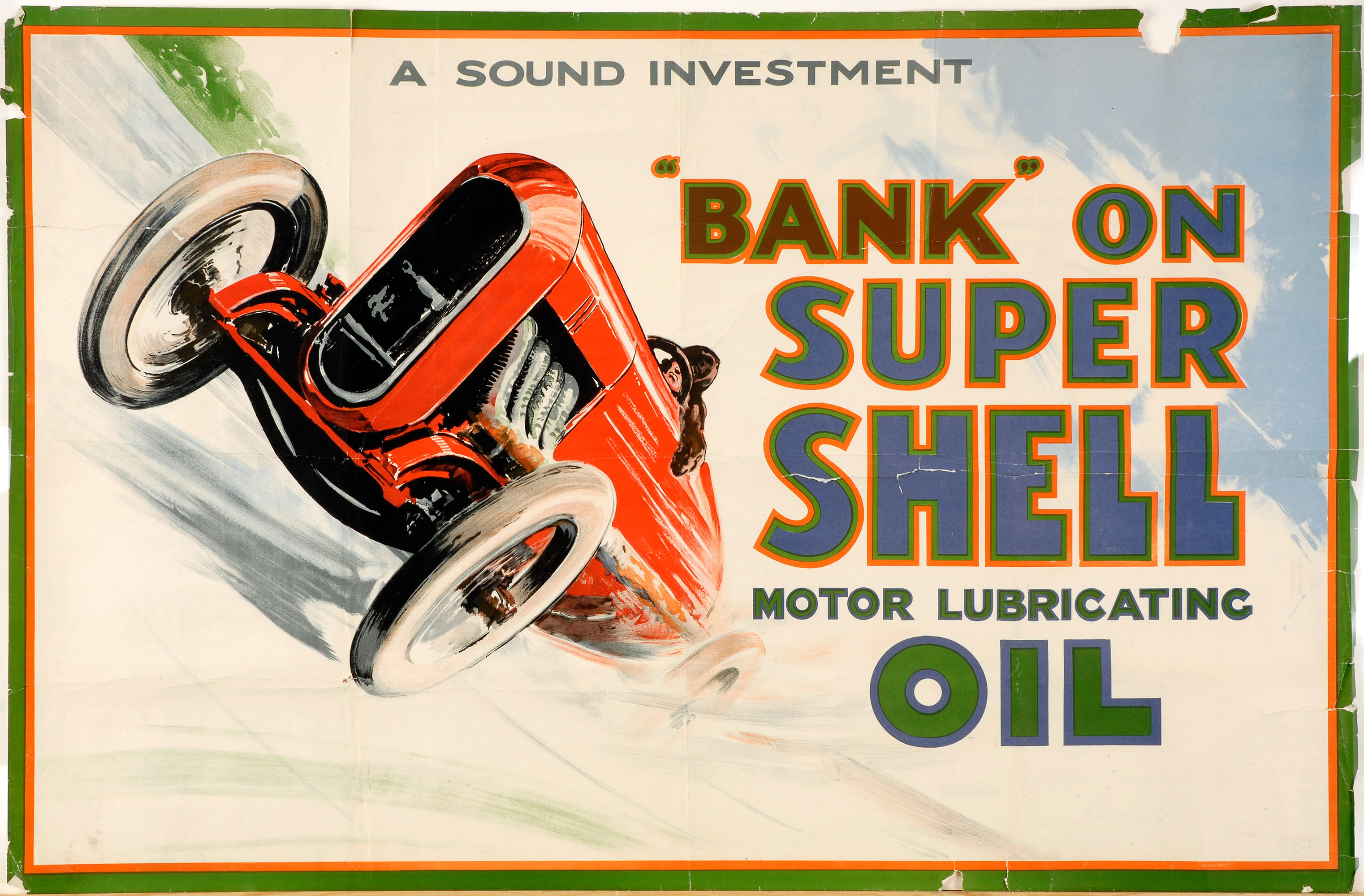 "Shell poster number 73, Bank on Shell Racing Car by Norman Keene. Painting of a man driving a red racing car, text reads; ""Bank on Super Shell Motor Lubricating Oil - A sound investment""."