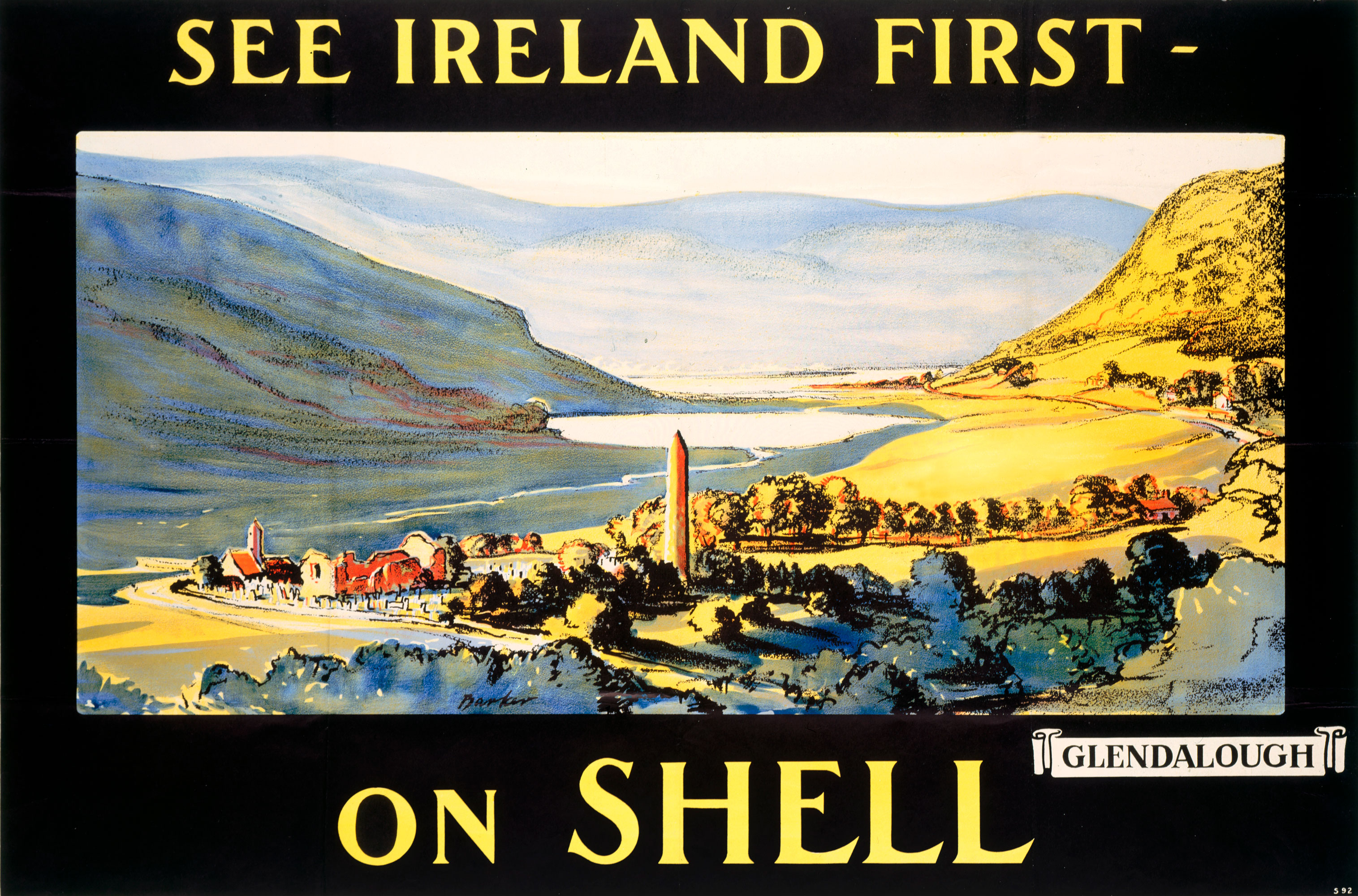 Shell poster number 92, See Ireland First on Shell - Glendalough by J.R. Barker (1925). Painting of the waterside at Glendalough.