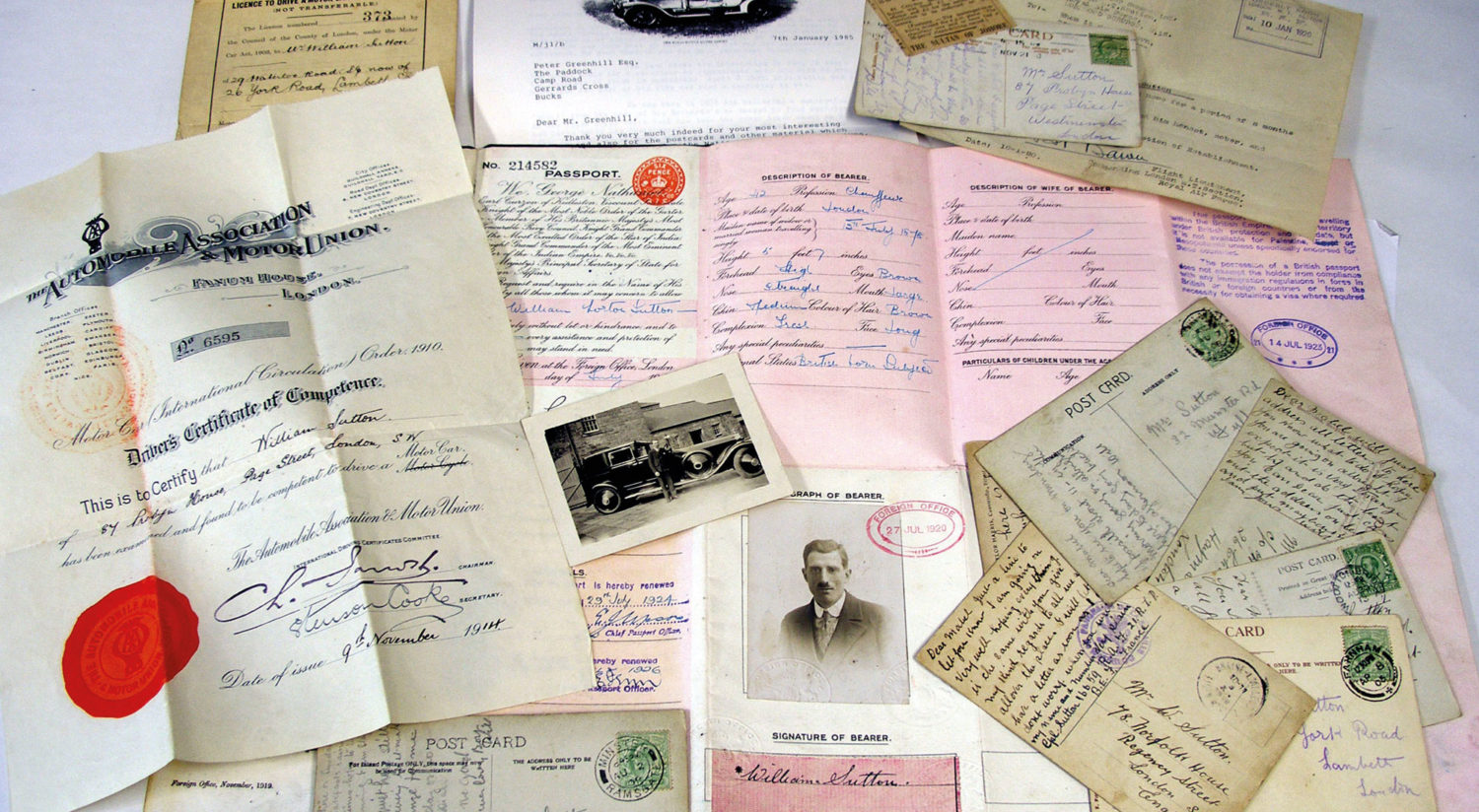 A Certificate of Driving Competence, old photographs, postcards and other documents