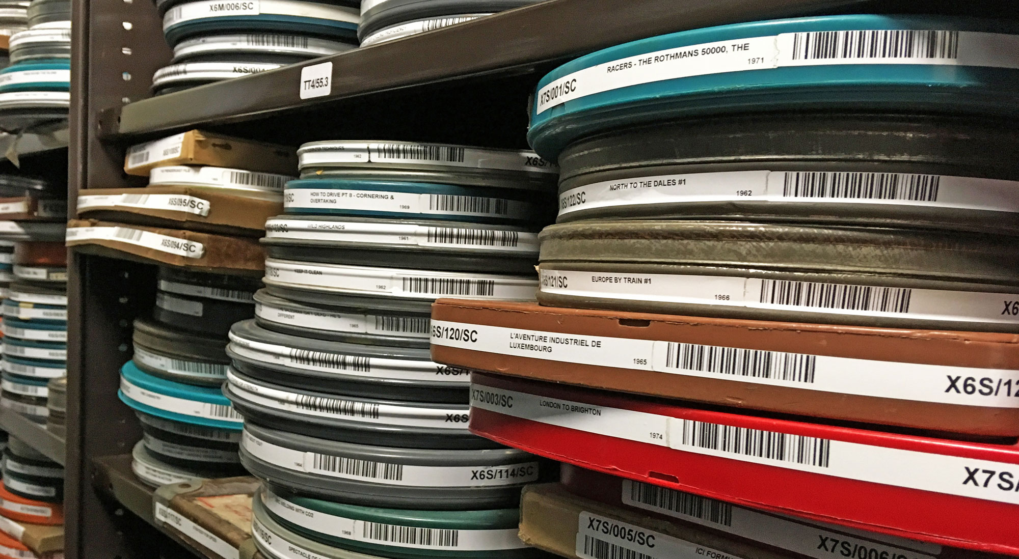 Stacks of film canisters