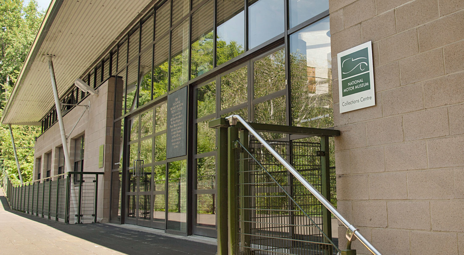The entrance to the Collections Centre at the National Motor Museum