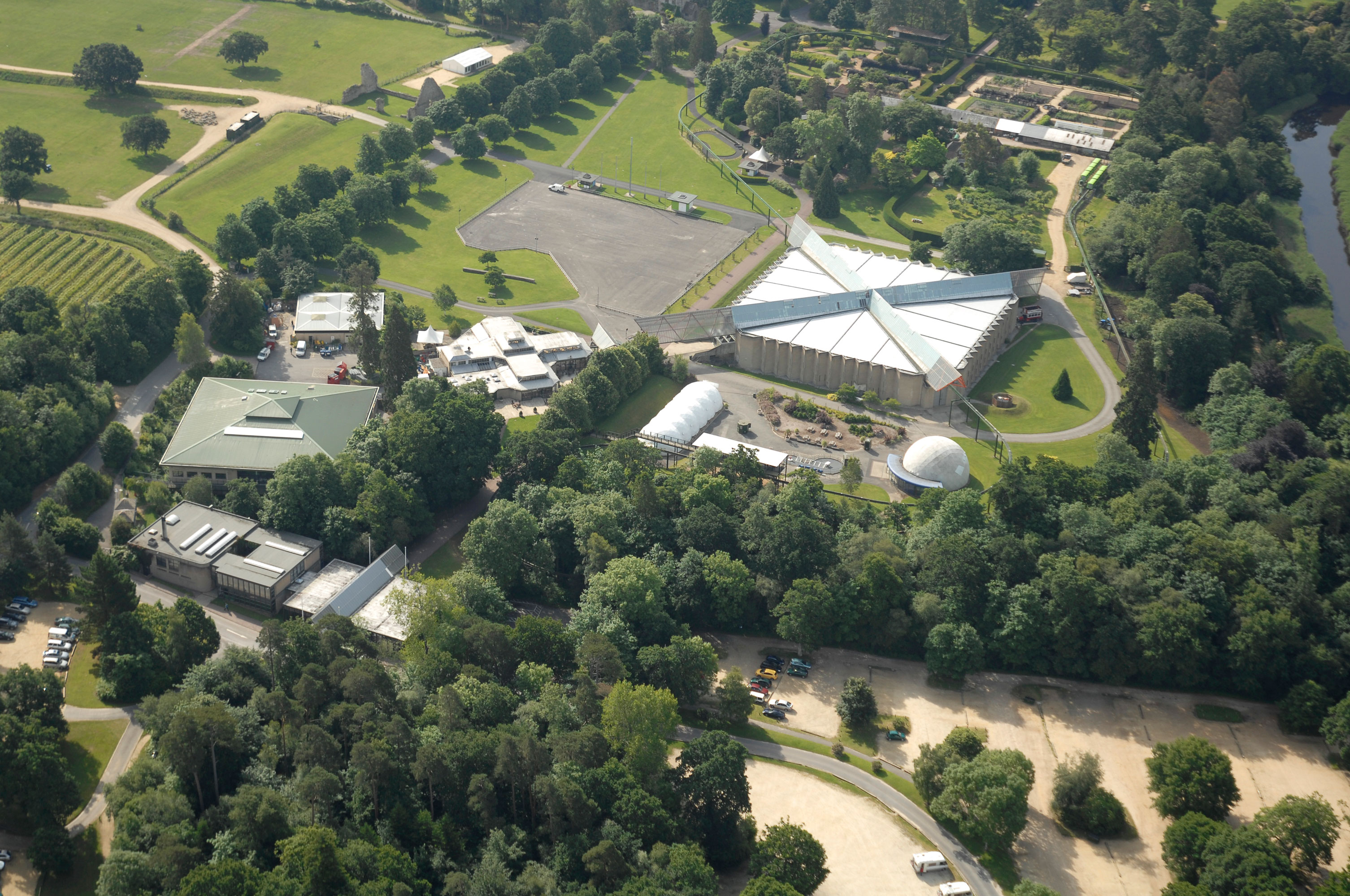 An aerial view of the National Motor Museum and Collections Centre