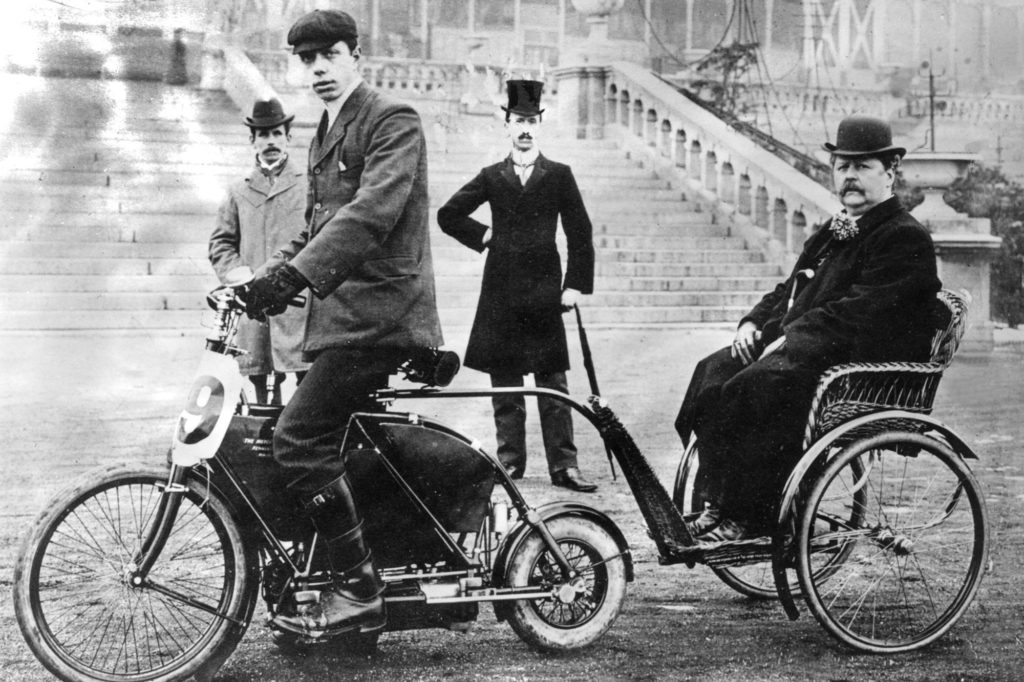 An archive image from 1897 of a Holden Autocycle with side-car