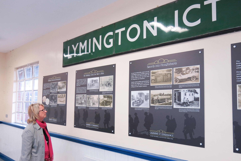 Caravans and Charabancs display at Lymington train station
