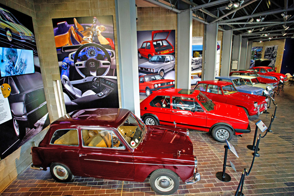 Cars in the Driving Change exhibition at the National Motor Museum