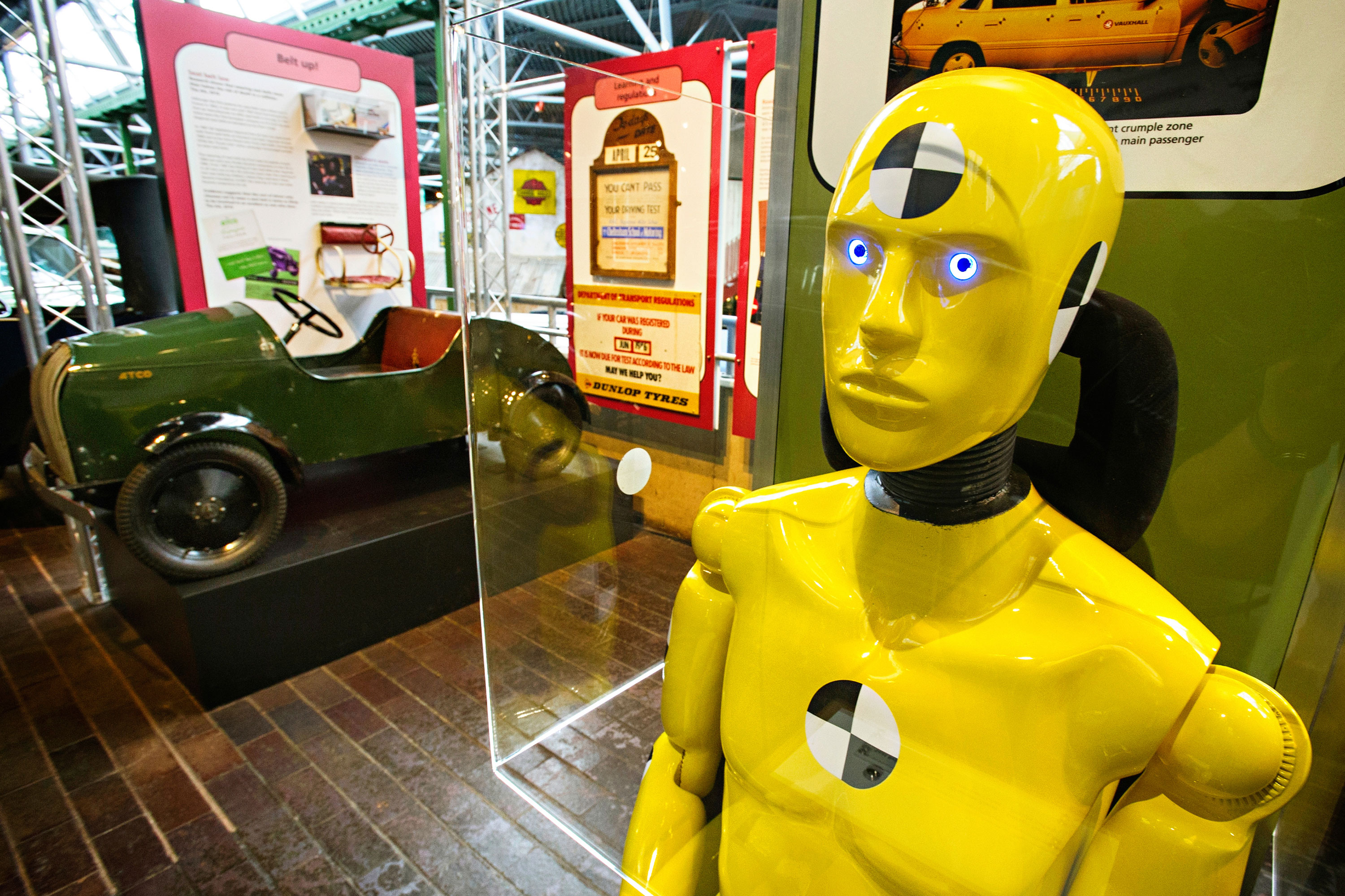 Crash test dummy on display at the National Motor Museum