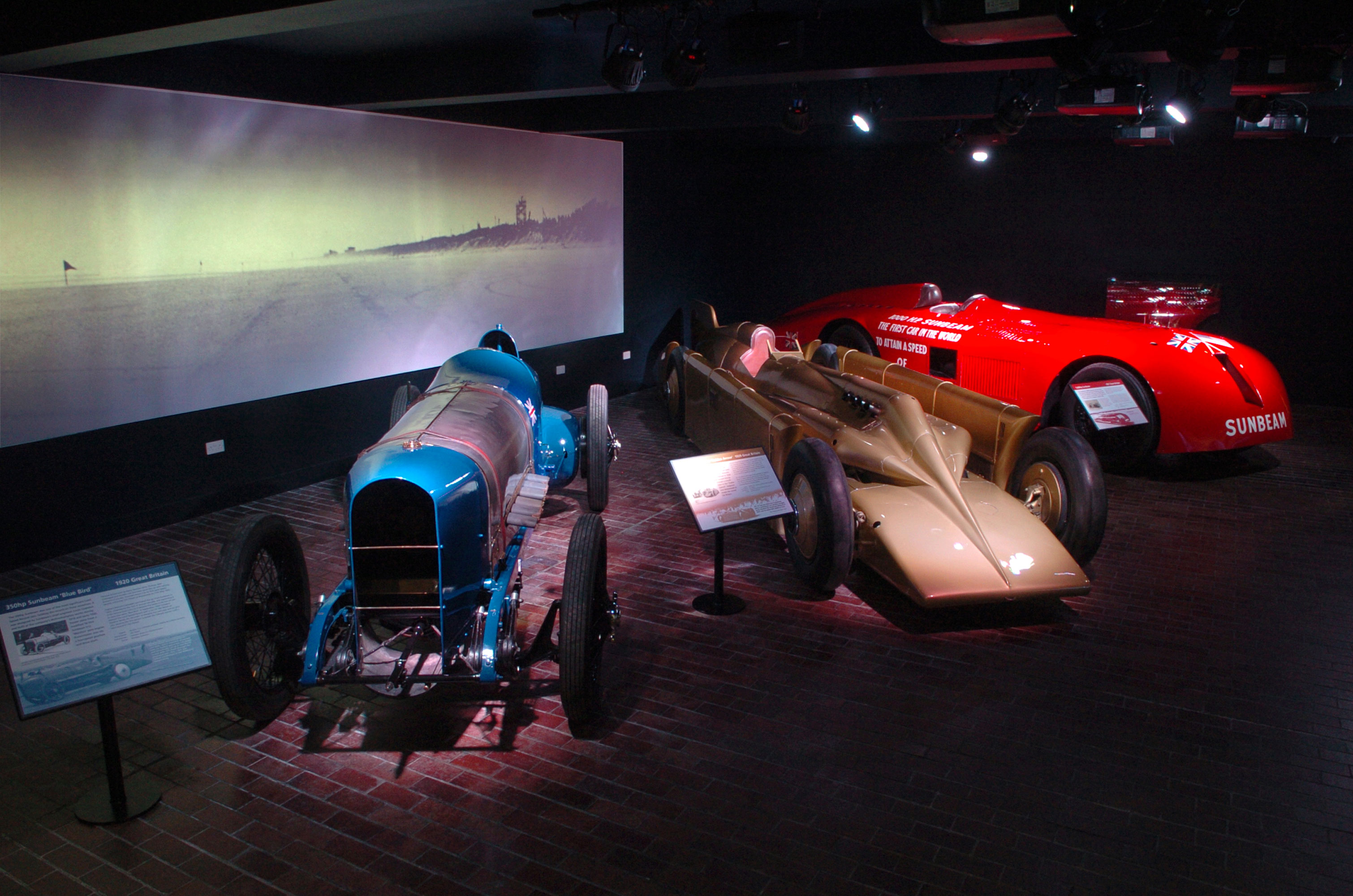 Land Speed Record vehicles on display in the National Motor Museum