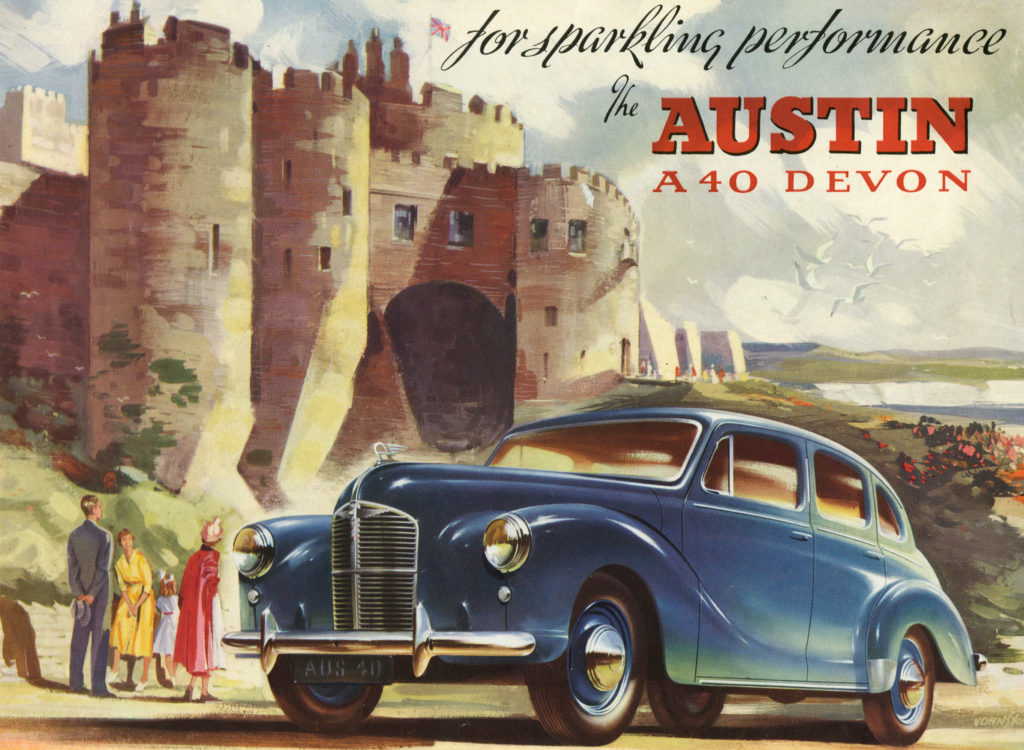 The cover of the brochure for the Austin A40 Devon