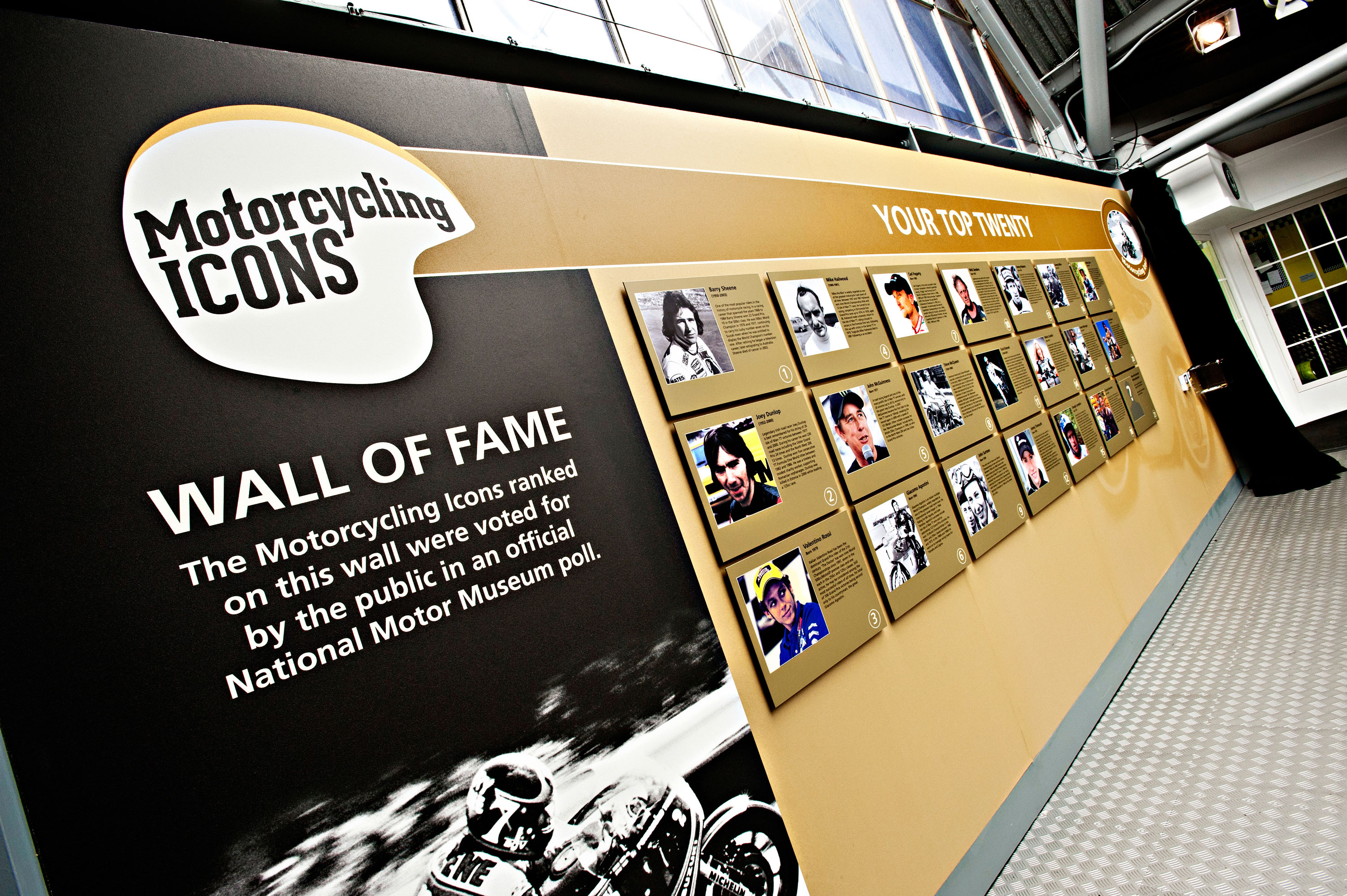 Motorcycling Icons wall of fame at the National Motor Museum