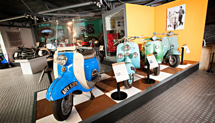 Scooters in the ACE cafe display at the National Motor Museum