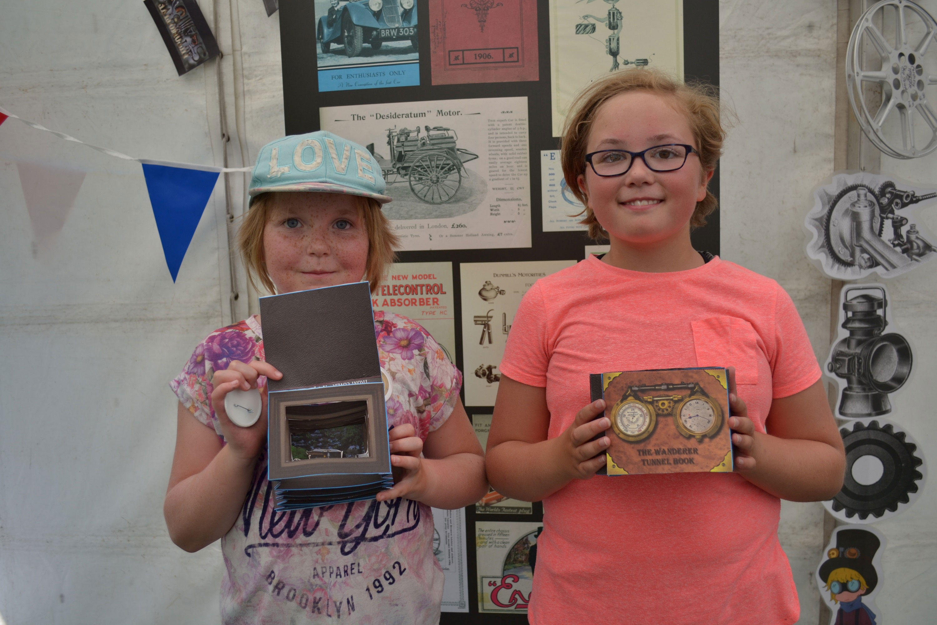 Two girls with steampunk craft creations at Beaulieu