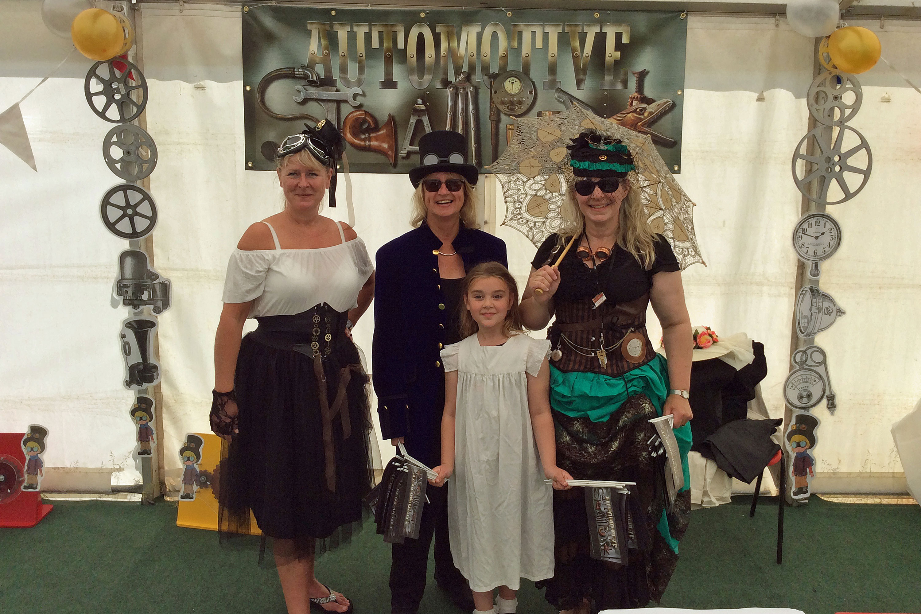 National Motor Museum staff in steampunk costume at the National Motor Museum