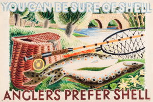 Shell poster number 402, Anglers prefer Shell (1935) by Clifford and Rosemary Ellis. Painting of two fish with a net, rod and basket.
