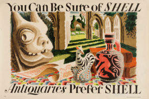 Shell poster number 416, Antiquaries prefer Shell (1934) by Clifford and Rosemary Ellis. Painting of antique artifacts and books.