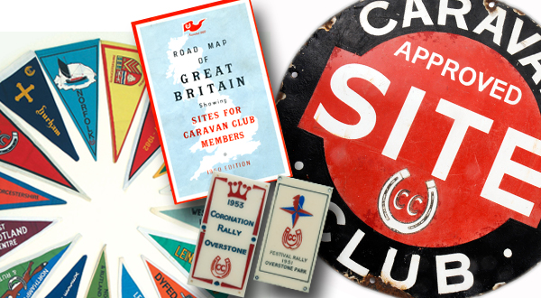 Various pennants, a map of Great Britain and an Approved Site sign from the Caravan and Motorhome Club Collection