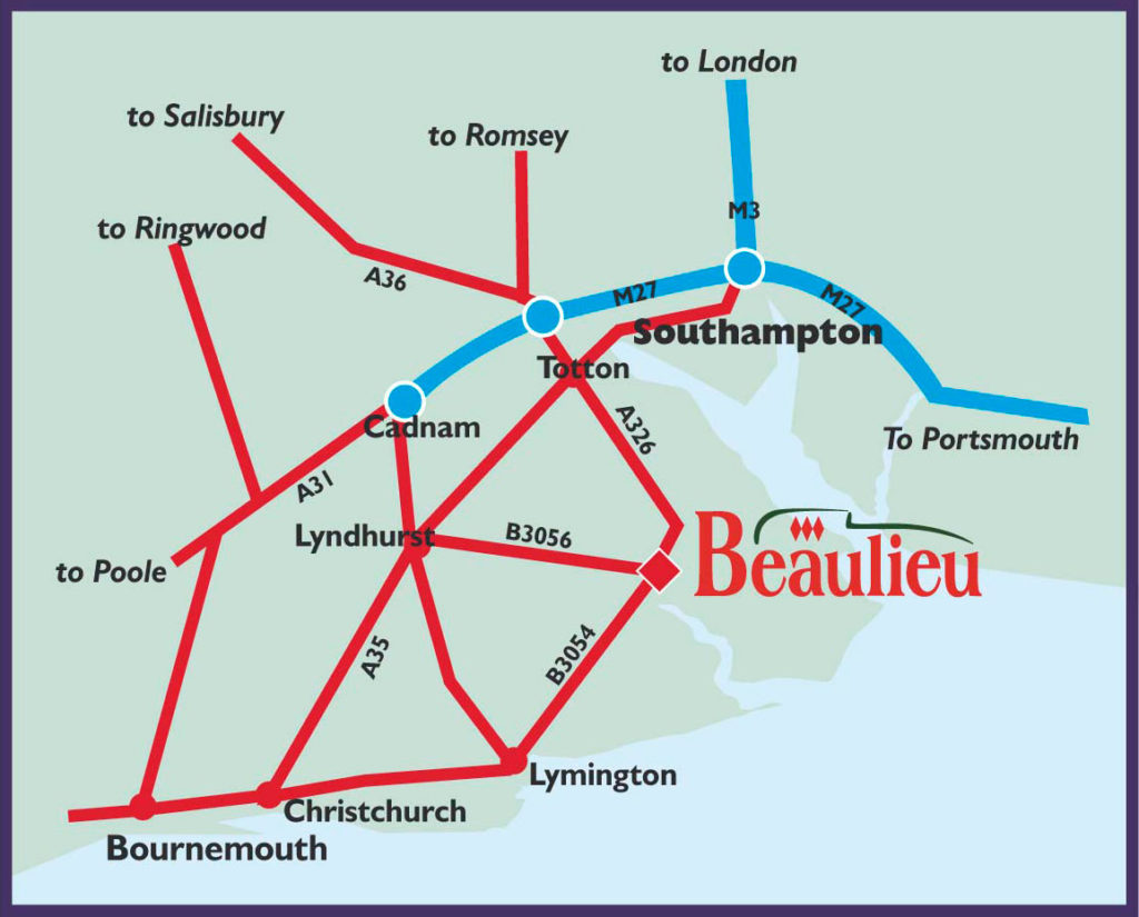 A map of the routes to Beaulieu