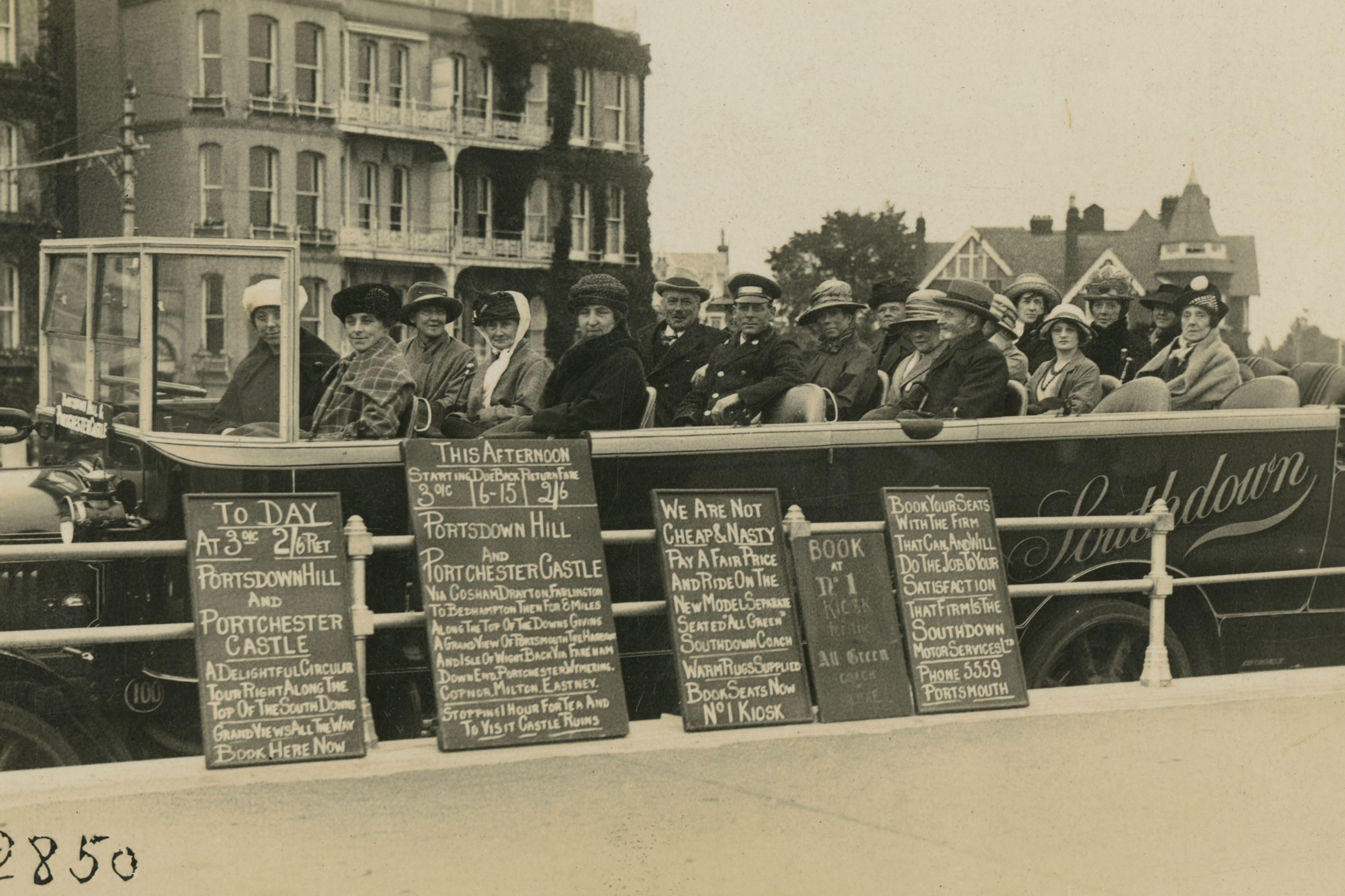 Archive image of people on a charabanc