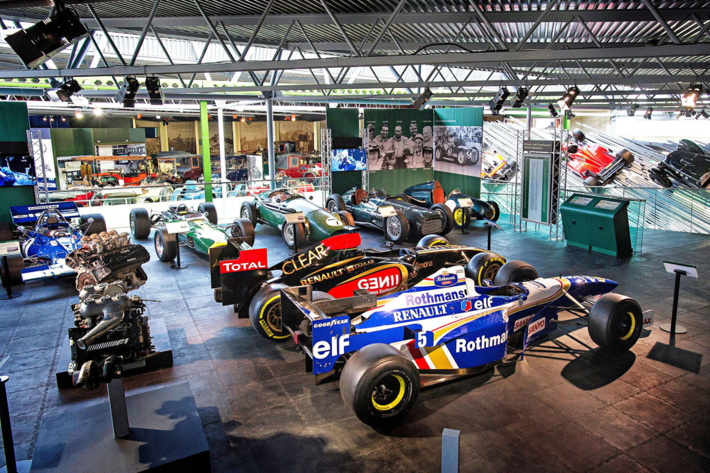 Grand Prix cars in the Chequered History display at the National Motor Museum