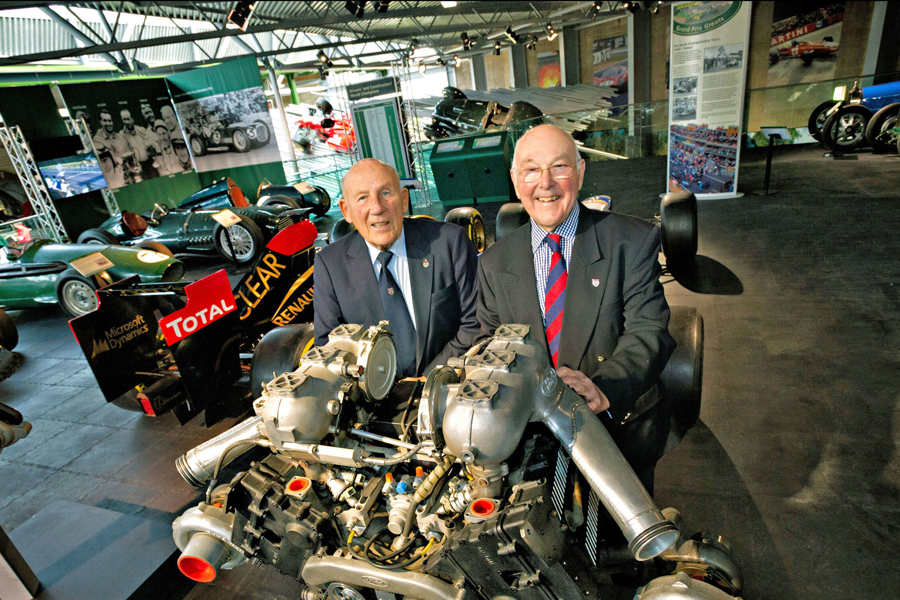 Murray Walker and Stirling Moss at the opening of a Chequered History display at the National Motor Museum
