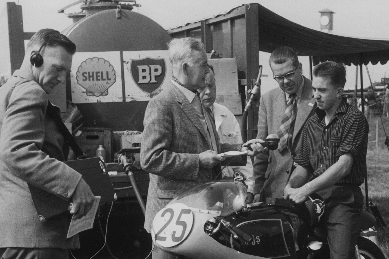 Stanley Schofield recording Graham Walker interviewing TT rider Peter Pawson,1960