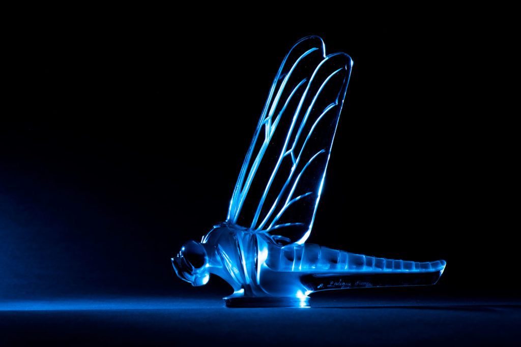 Glass Lalique dragon-fly car mascot