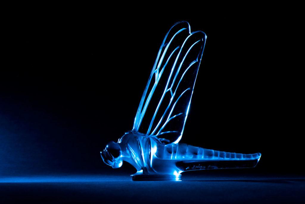 Glass Lalique dragon-fly car mascot