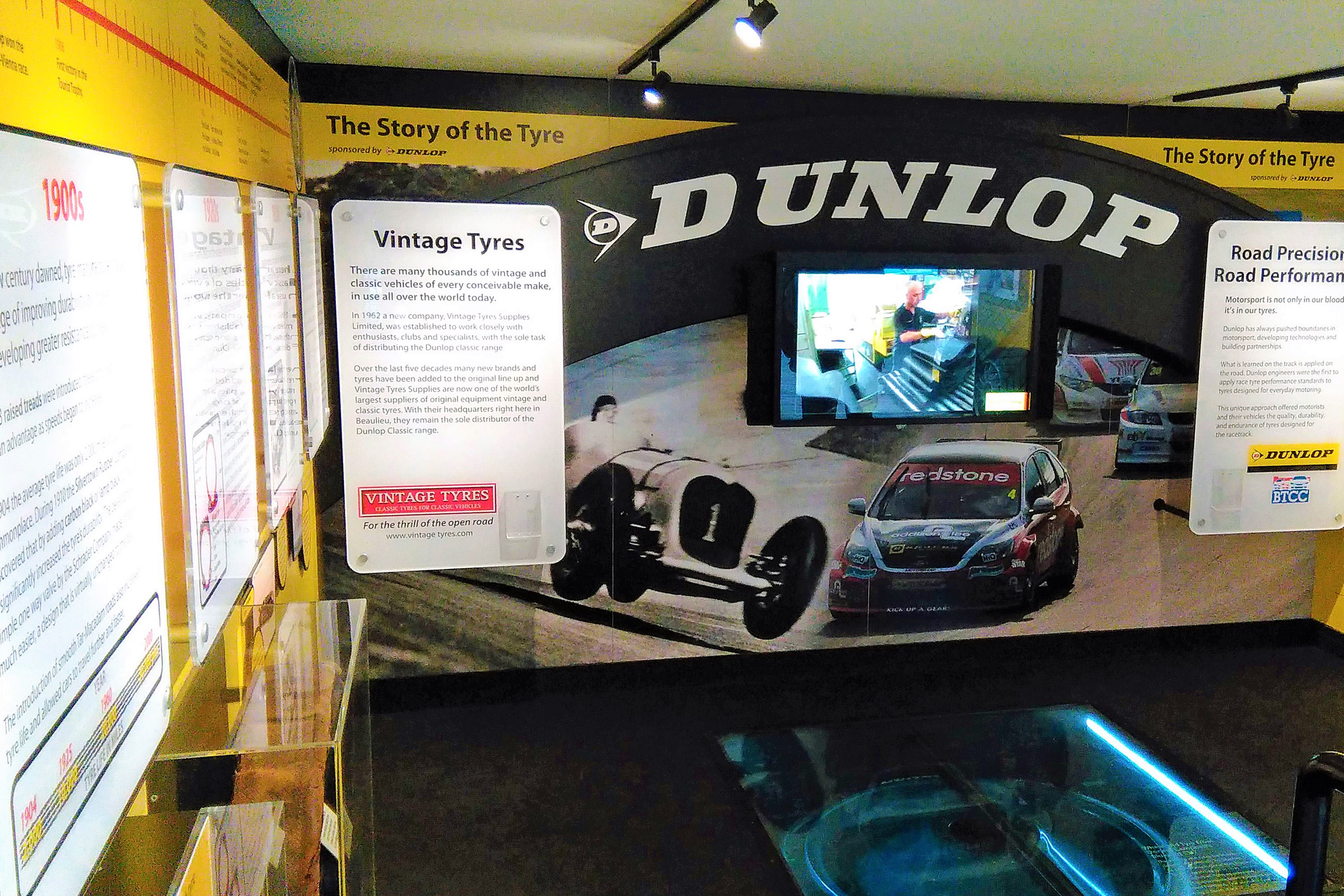 The Dunlop display booth at the National Motor Museum