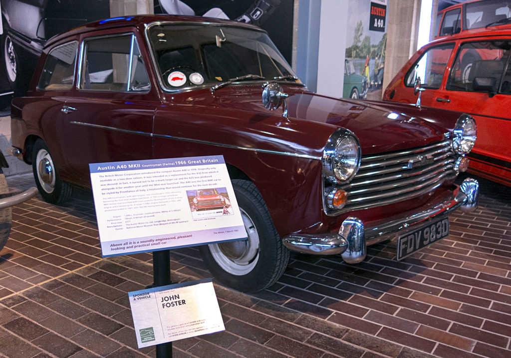 1966 Austin A40 with sponsorship plaque at the National Motor Museum