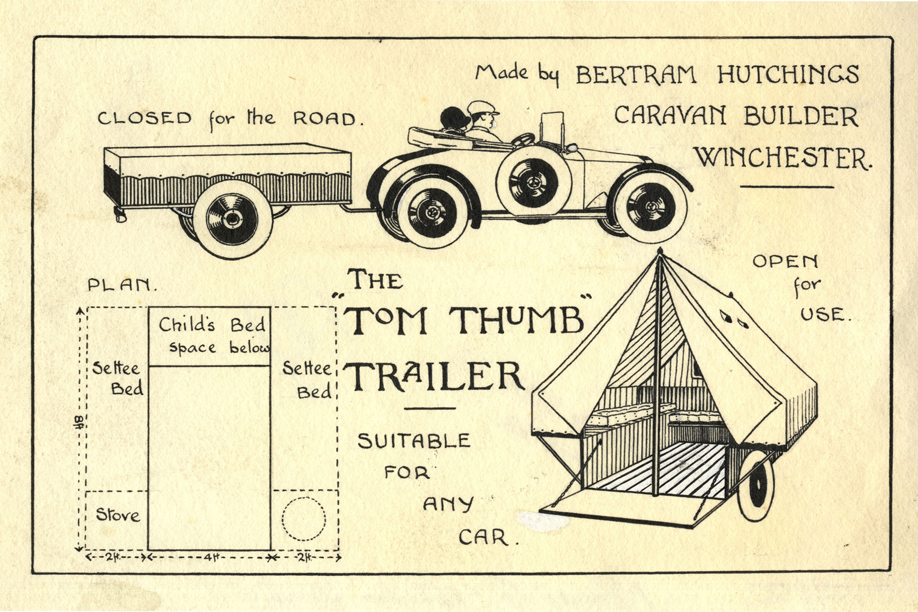 Illustrated advert for a pop up trailer tent.