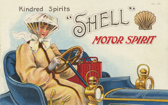 Shell Kindred Spirits (1908), showing a female driver in an open top car, beside two Shell petrol cans.
