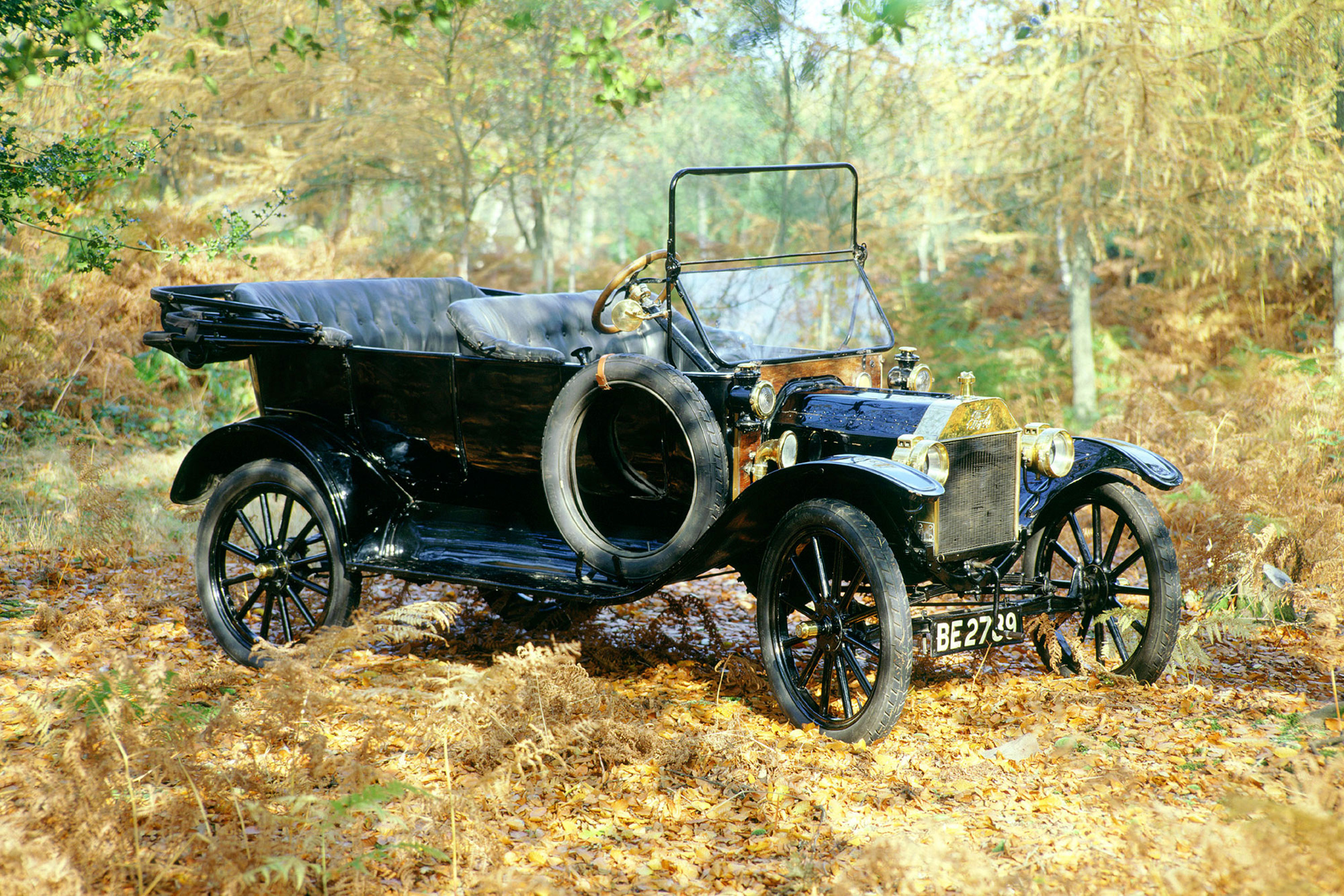 A 1914 Ford Model T in woodland