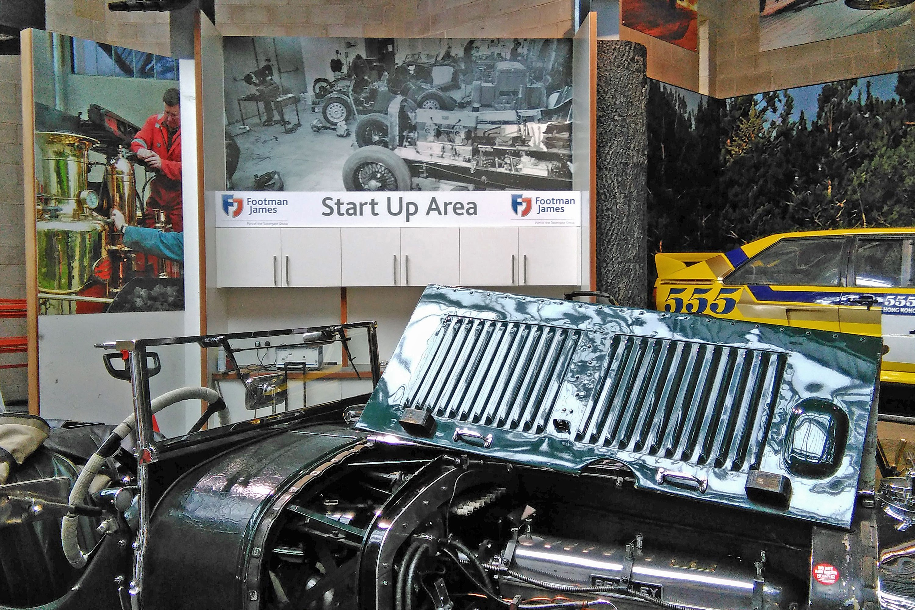 Start up area in the National Motor Museum with 1930 Bentley in foreground