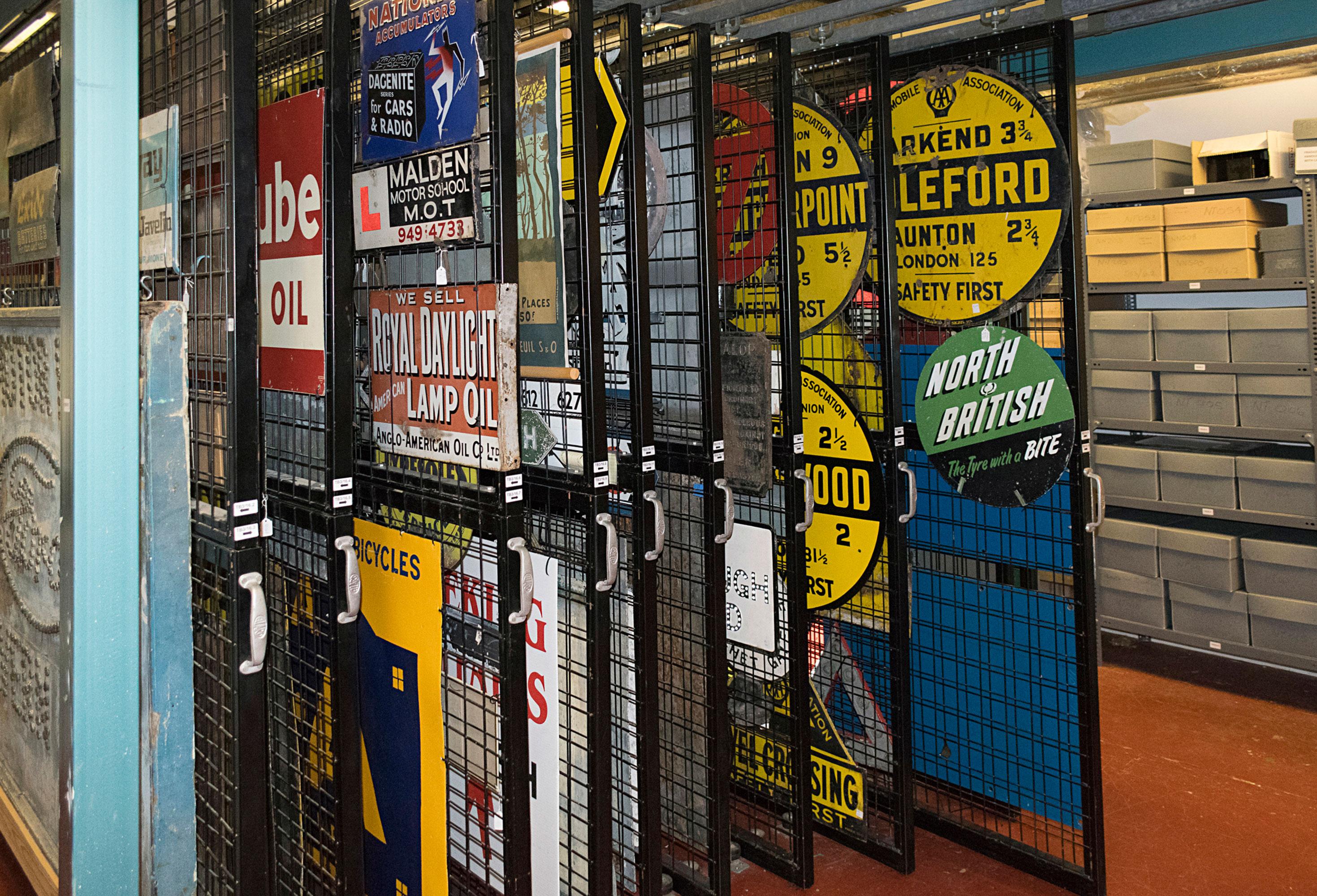 Racks of historic motoring signs
