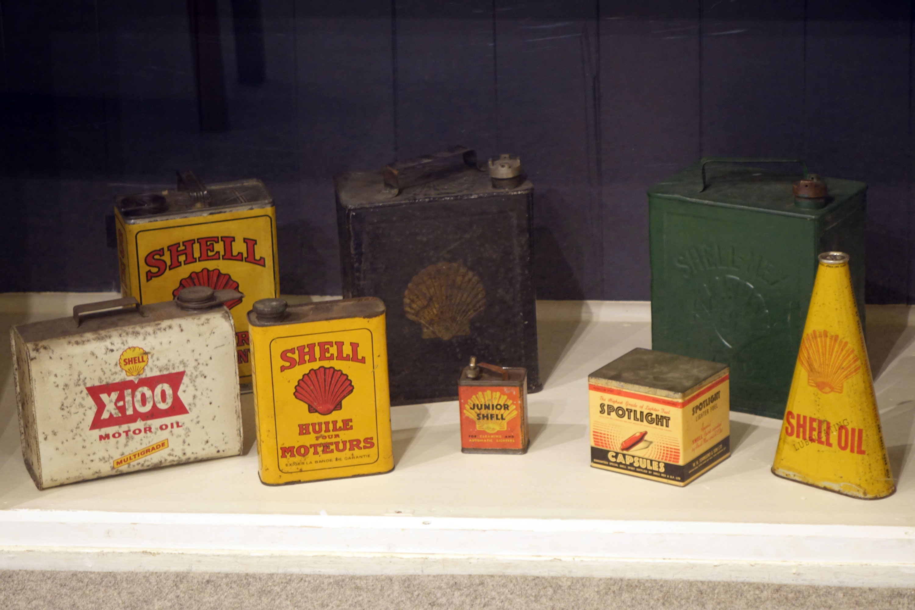 Mottisfont Exhibition 2017. Display of Shell oil and petrol cans.
