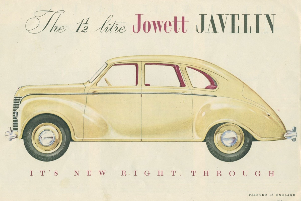 Front cover of Jowett Javelin brochure featuring Jowett in profile
