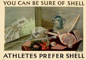 Poster titled Athletes Prefer Shell, Eve Kirk,1934 with sporting equipment