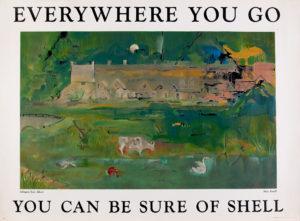 Shell transport poster of Arlington Row, Bibury, Mary Kessell, 1952