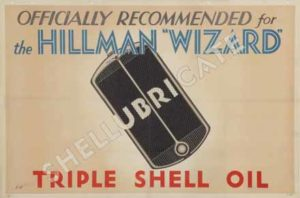 Transport Poster titled: Hillman Wizard Recommend Triple Shell, E Holman, 1931